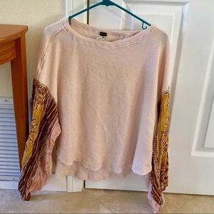 Free People Long Sleeve Top with Patterned Sleeves